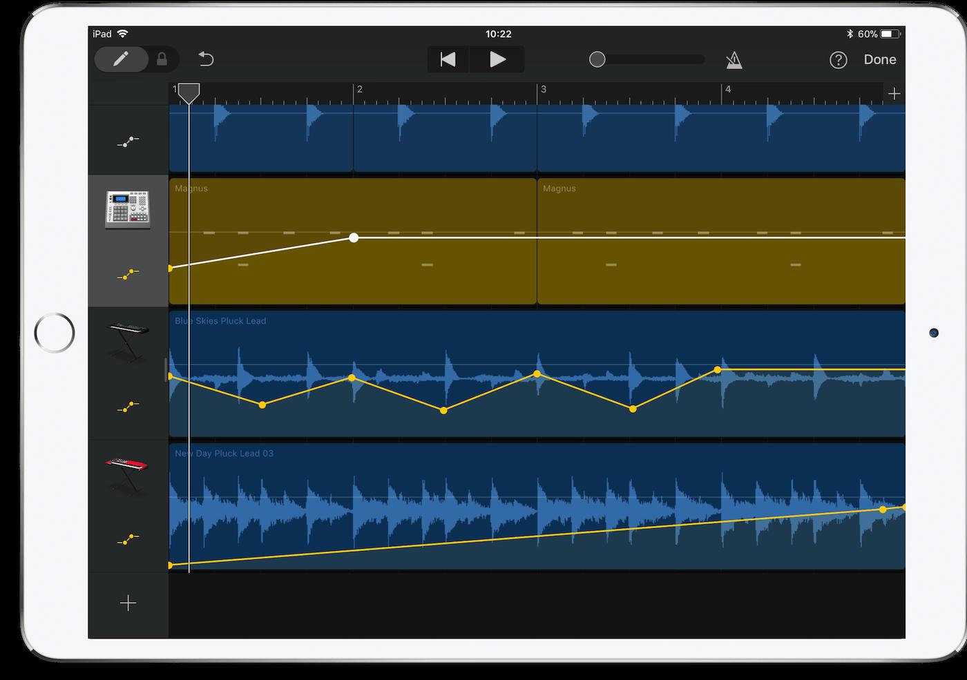 GarageBand Automation on iOS on an iPad