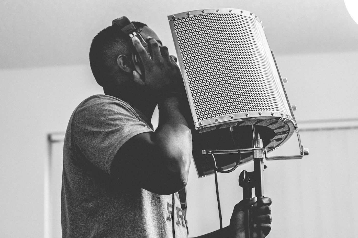 Man Recording for Music Collaboration