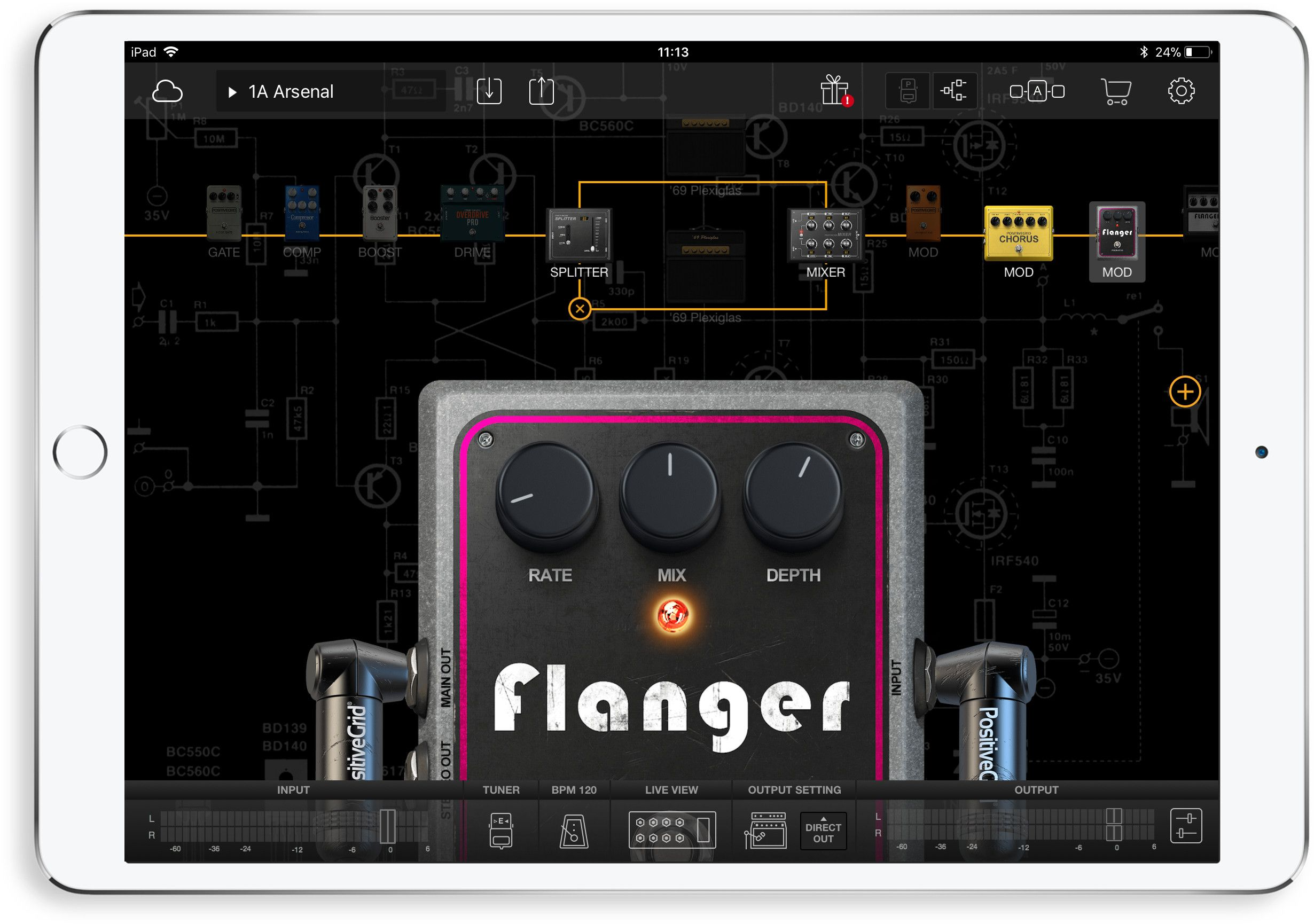 Guitar Pedals for iPad Live Music Set Up